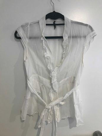 Camiseiro/ Blusa branco com folho e cinto   Naf Naf   40