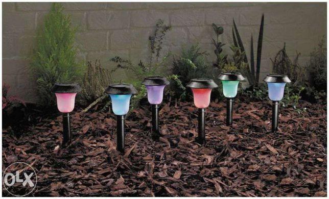 Efektowny komplet Kolorowych Solarnych Lamp Ogrodowych 6szt -super cen