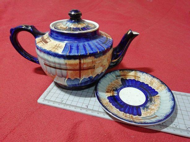 Serviço de chá da Fábrica de Loiça de Sacavém, composto por bule e pir