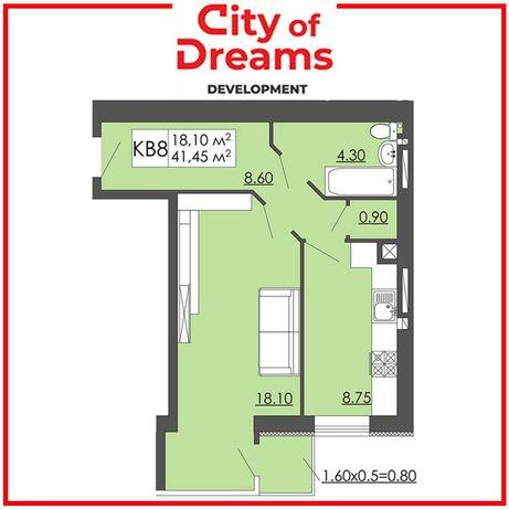 Одно кімнатна квартира 41,45м2, Малі Підліски.
