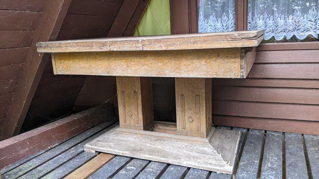 Drewniany stół i szafka pod tv do renowacji
