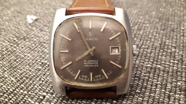 Stary zegarek LANCO Automatic 21 J cieniutki Swajcaria Galeria Sztuki