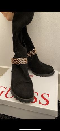 Buty długie czarne z łańcuchem
