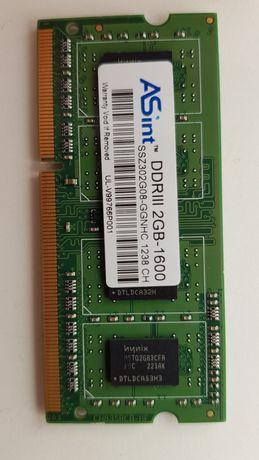 Pamięć do lalropa RAM DDR 3; 2 GB, 1600 MHz