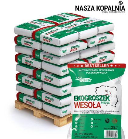 """Polski Węgiel Ekogroszek """"Wesoła"""" Workowany 29 mj/kg 1 tona Najlepszy"""