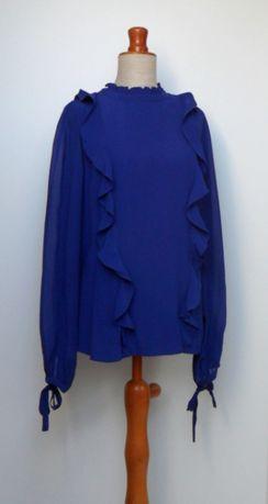 bluzka elegancka falbanki kokardy chabrowa 42/44