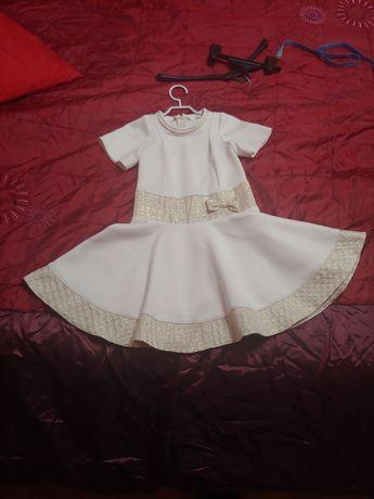 Sukienka elegancka biało-złota 128 krótki rękawek wesele komunia