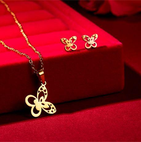 Prześliczny Złoty Komplet Biżuterii