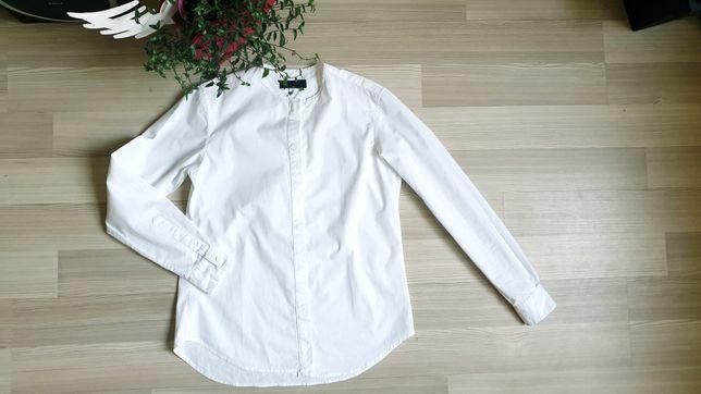 Белая дизайнерская женская рубашка воротник стоечка