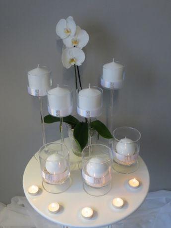 Świecznik szklany na nóżce H 35 cm