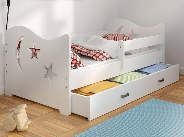 Meble Magnat łóżko dziecięce sosnowe 80x160 białe szare seria Miki