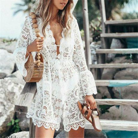 Летнее платье пляжная туника. Женский халат накидка на купальник