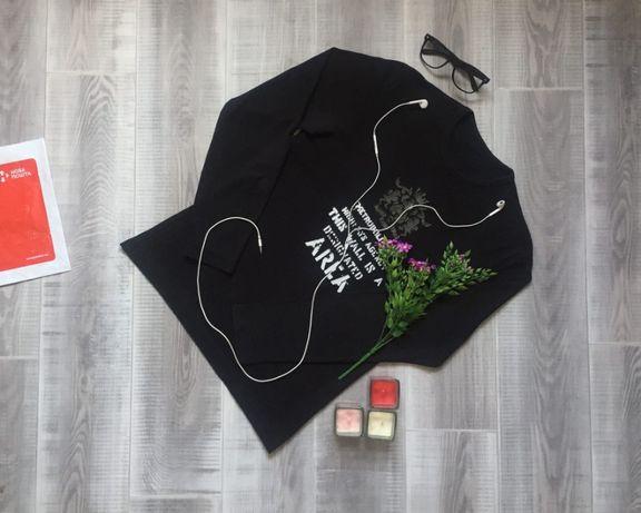 Свитер чёрный , размер S, тёплый котон шерсть кофта худи