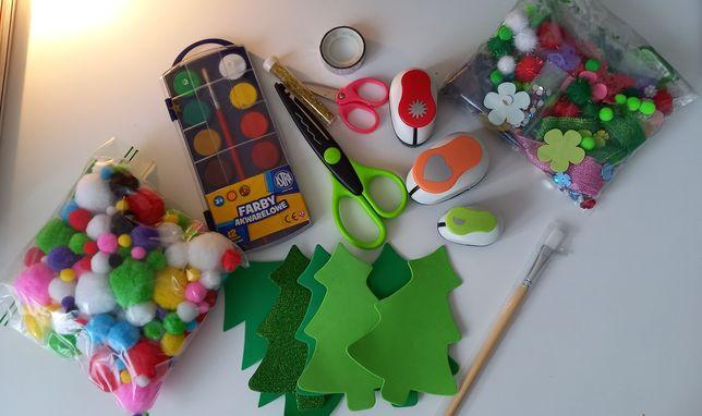 Duży zestaw DIY (farbki, pompony, naklejki, dziurkacze, cekiny itp)