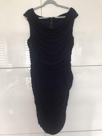 Sukienka granatowa drapowana