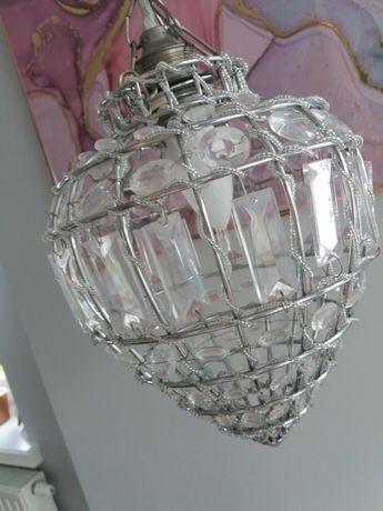 Żyrandol kryształowy lampa orzech srebrny kamienie kula