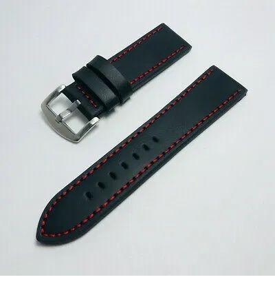 Bracelete Pele Preta Pespontos Vermelho  22mm 24mm