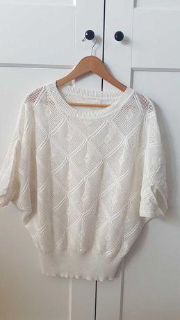 Biały sweter ażurowy M nietoperz