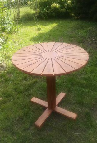 Stolik ogrodowy okrągły drewniany (akacja) na jednej nodze 70cm