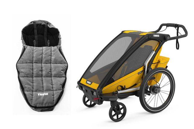 od ręki przyczepka rowerowa Thule Chariot Sport 1 ze śpiworem