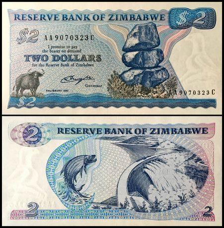 Banknot Zimbabwe 2 Dollars 1980 UNC