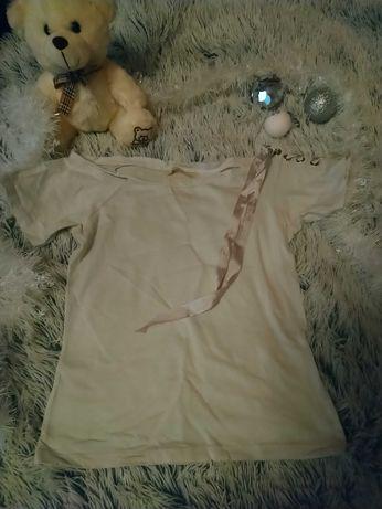 Biała bluzka ze wstążką na ramieniu rozm XS (pasuje S) diverse glamour