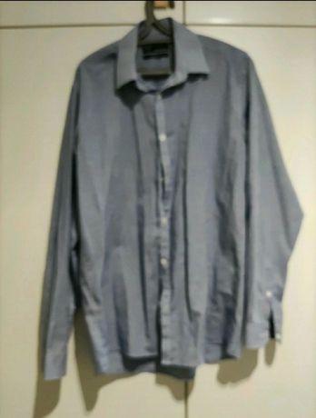 Koszula granatowo biała kratka M