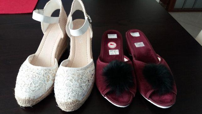 Nowy zestaw koturny + pantofle z pomponem.