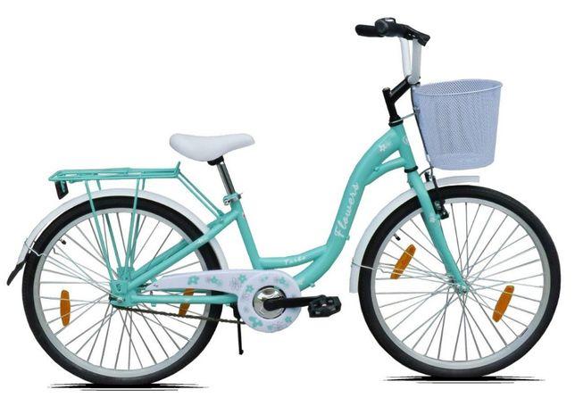 Rower 24 cale dla dziewczynki Miętowy na Komunię Rowerek Łabędź
