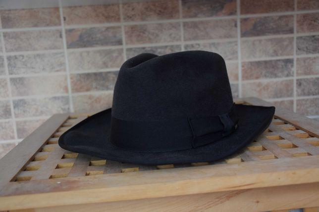 kapelusz fedora szary włos króliczy 59 szerokość ronda 7 cm