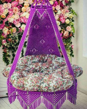 Кресло-гамак подвесной, макраме.