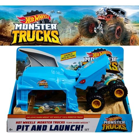 Hot Wheels Monster Truck Pit & Launch Shark Акула Монстер Трак GKY03
