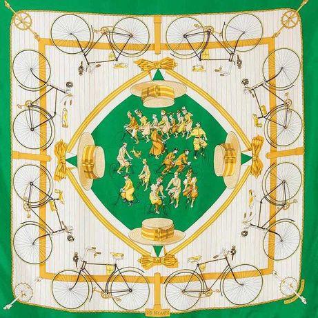 Редкий винтажный платок hermes les becanes оригинал шёлк