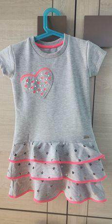 Szara sukienka z krótkim rękawem dla dziewczynki 6 lat