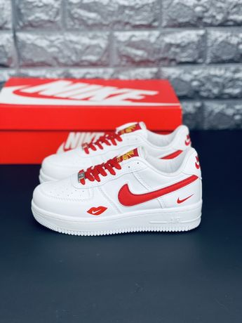 Nike Air Force Af 1 Red Love кожаные белые кроссовки Найк Аир форс Аф1