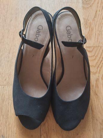 Sandałki damskie GABOR, skóra naturalna, 40, czarne na koturnie
