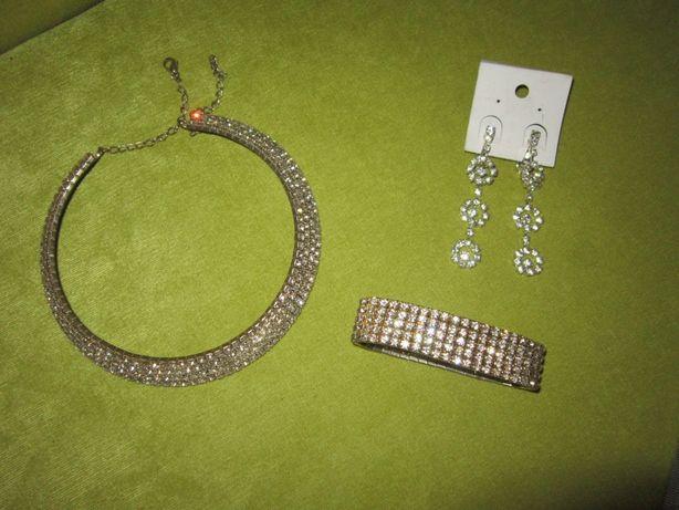 Набор браслет колье ожерелье серьги свадьба выпускной вечернее