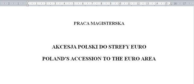 Praca magisterska. Akcesja Polski do strefy euro