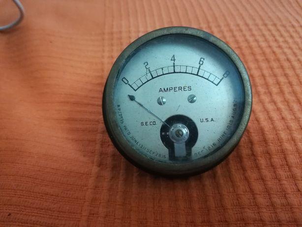 Medidor de  Amperes  GE Co vintage Carro antigo Manómetro de bateria