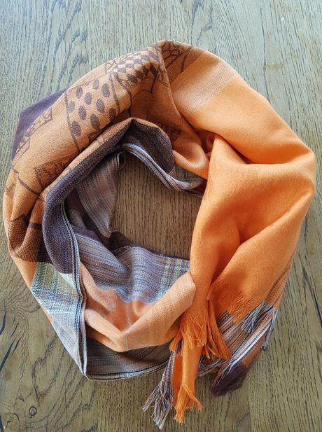 szal, chusta , apaszka pomarańczowa, brązowa