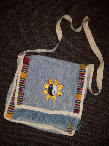 Torba torebka w stylu boho hippie eco vintage handmade jak nowa