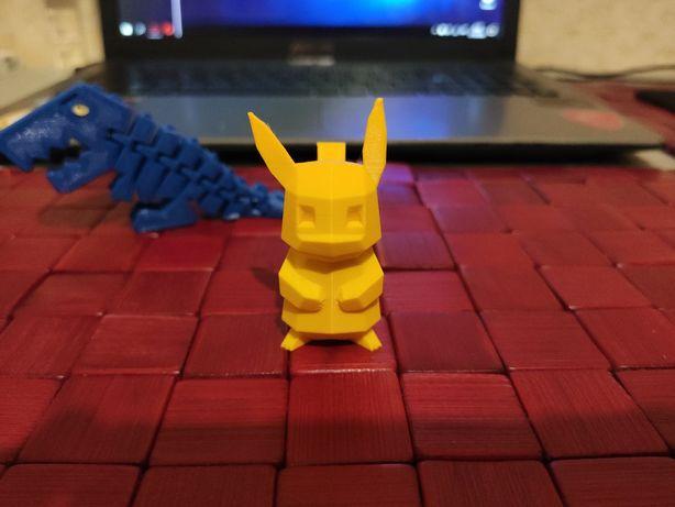 Пикачу, покемон, Pikachu low-poly (ЧПУ, 3д печать, CNC)