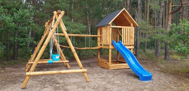 Plac zabaw hustawka zjeżdżalnia domek dla dziecka