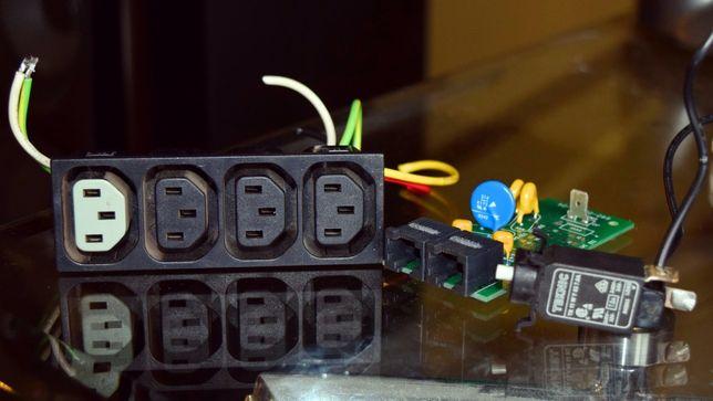 Радиодетали разъём питания сетевой кабель тройник блок питания гнёзда