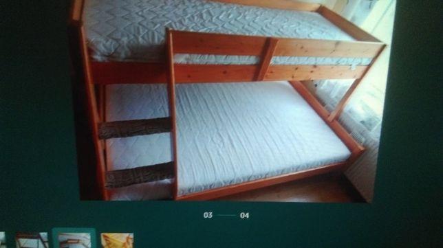 łóżko drewniane 3 osobowe
