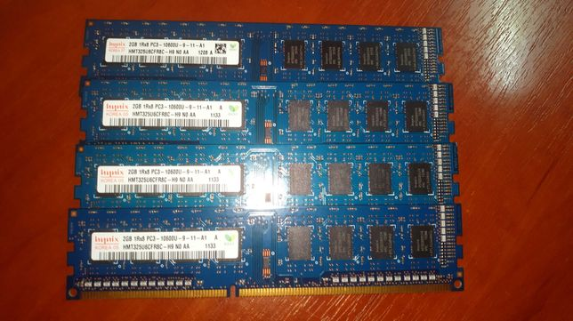Память DDR3 2Gb Hunix 10600 частотой 1333MHz 8 модульная