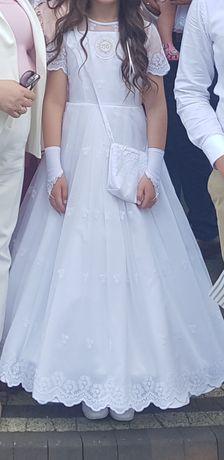 Sukienka komunijna plus torebka i rekawiczki szyta na miarę