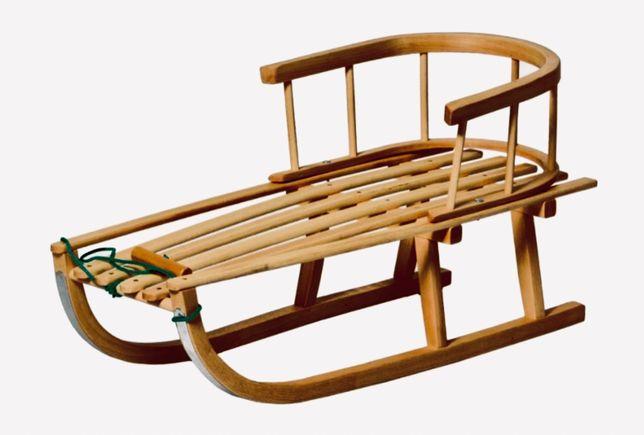 Sanki drewniane z oparciem
