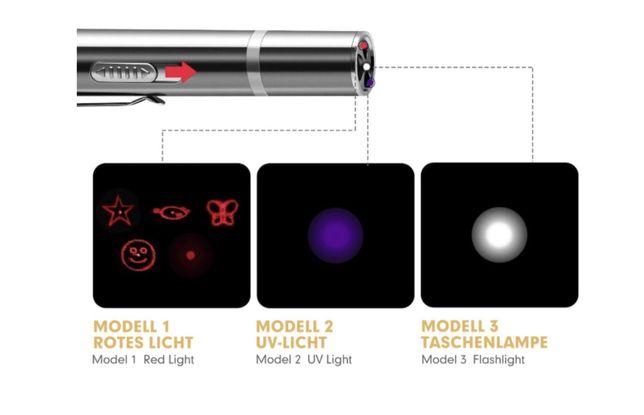 Ponteiro Laser 3 em 1 (Laser, Luz UV, Luz LED) (NOVO)