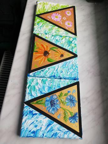 Seria 3 obrazy akrylowe 15x15cm kwiaty łąka
